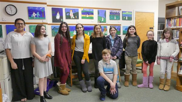 10 students in grades 5 and 6 who participated in the Read to Paint program.