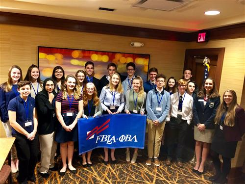 Lake George FBLA members with banner