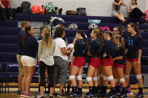 Coach Panic with Volleyball Team