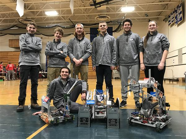 Lake George Robotics team with robot