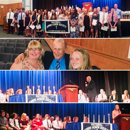 collage of National Junior Honor Society Induction Ceremony