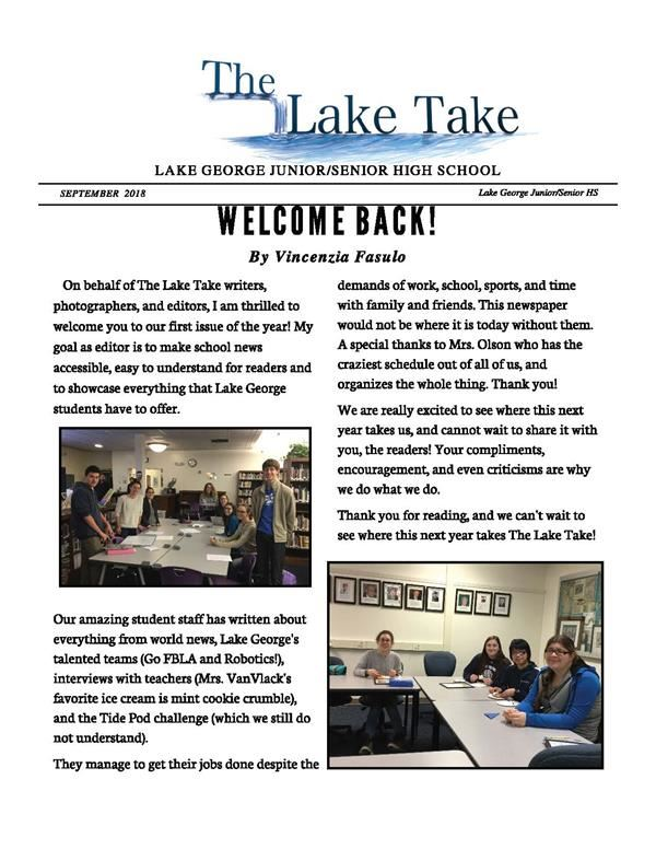 page one of the Lake Take