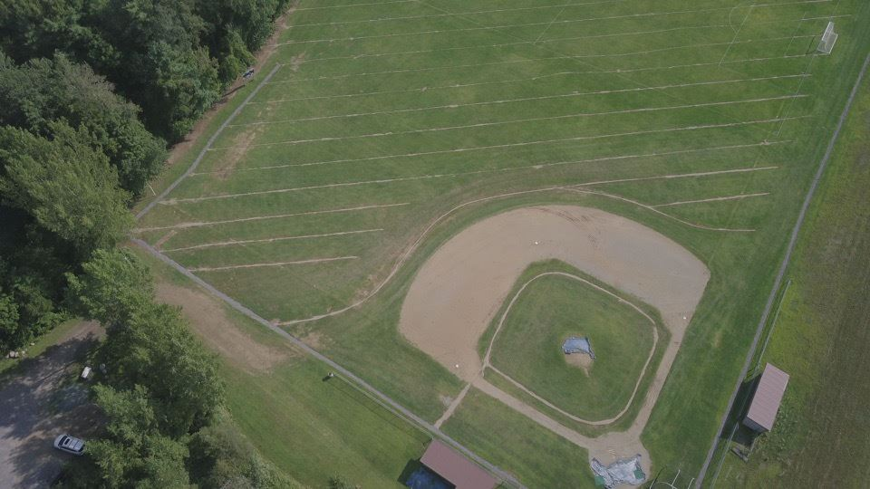 drainage project at Lake George baseball field